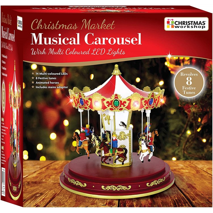 Christmas Market Musical Carousel with Multi Coloured LED Lights