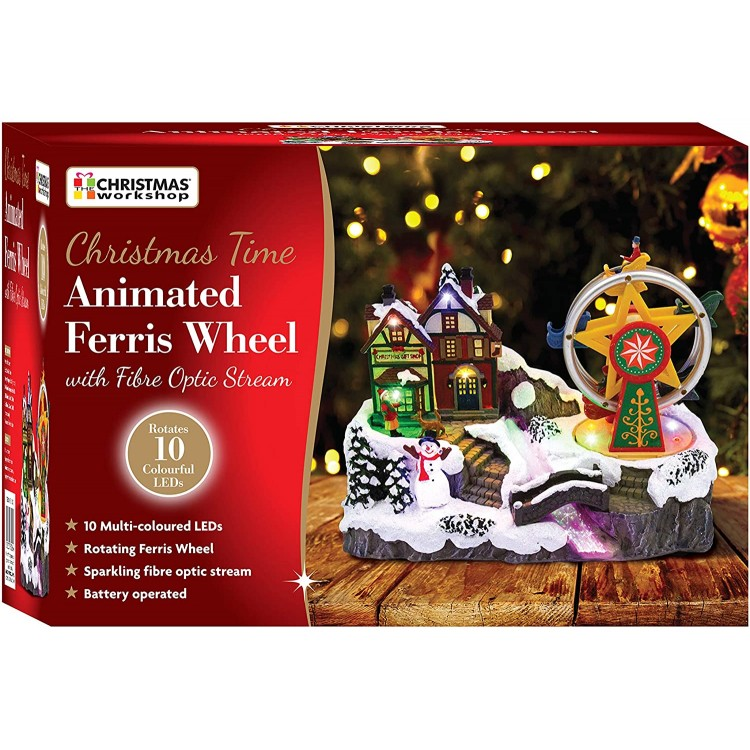 Christmas Time LED Animated Ferris Wheel with Fibre Optic Stream