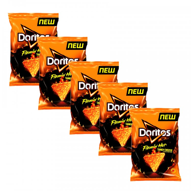 Doritos Flamin Hot Tangy Cheese Flavour Corn Chips 70g - 5 For £1