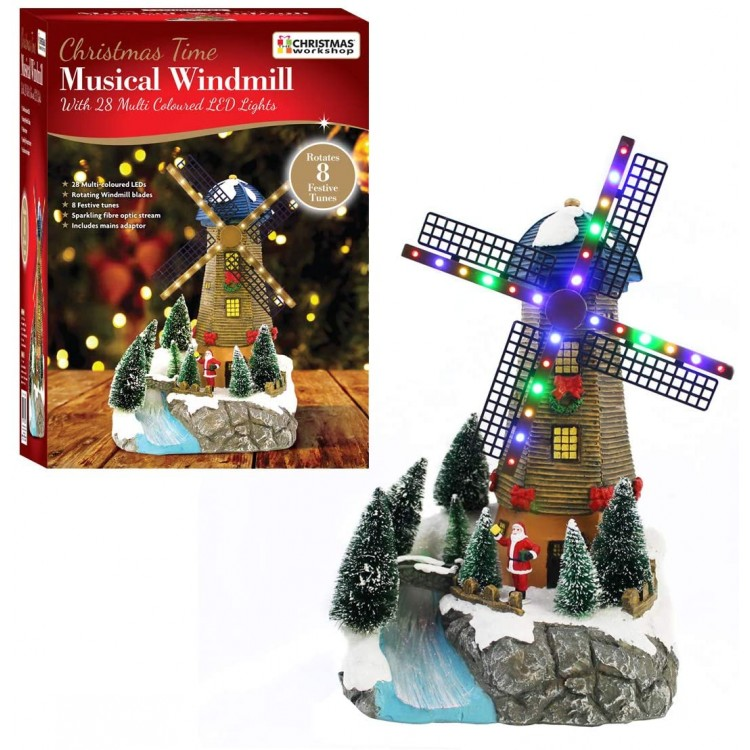 Musical Multi Coloured LED Windmill with Fibre Optic River