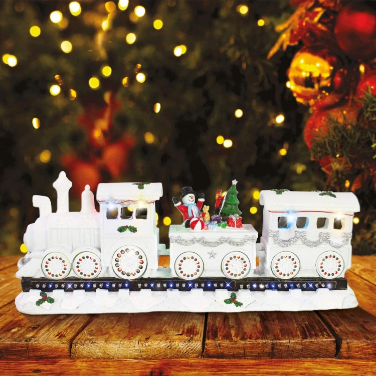 Musical Train Ride Ornament with Multi Coloured LED Lights
