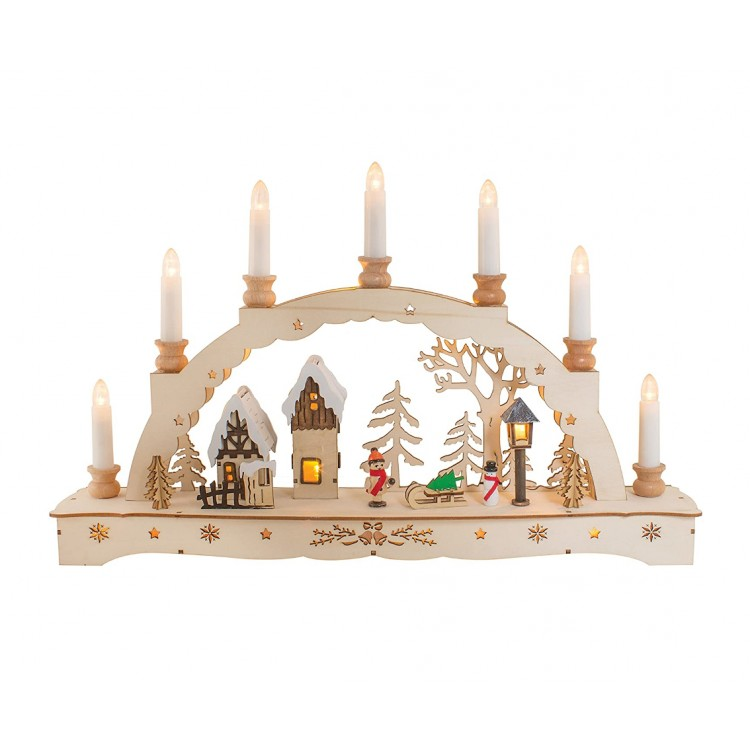 Natural Wooden LED Candle Bridge Scene with Warm White Candles