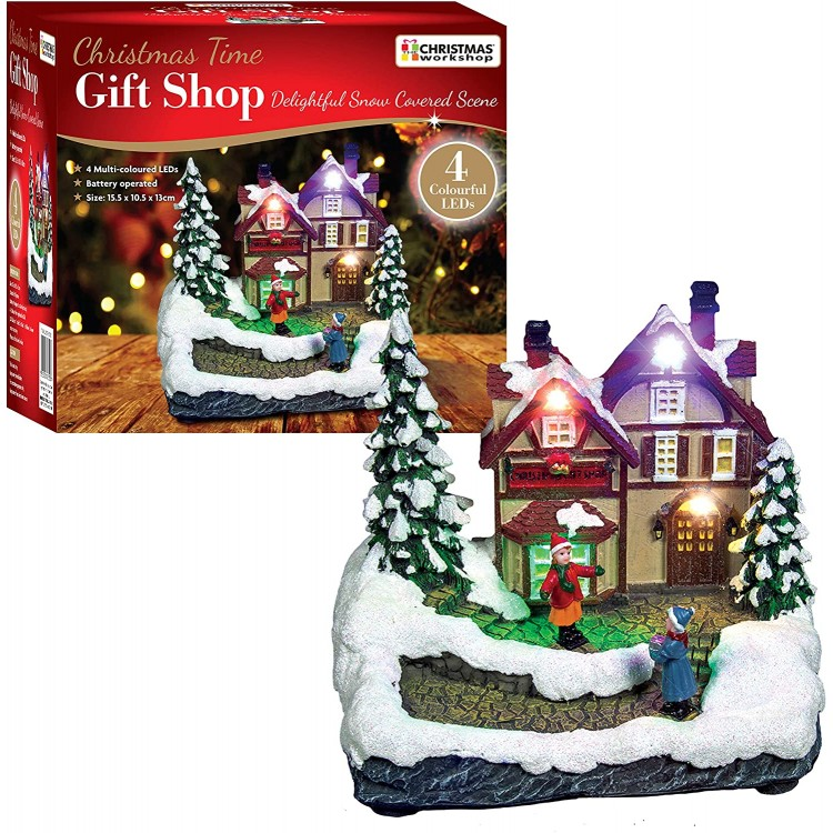 Snow Covered Gift Shop Scene with LED Lights