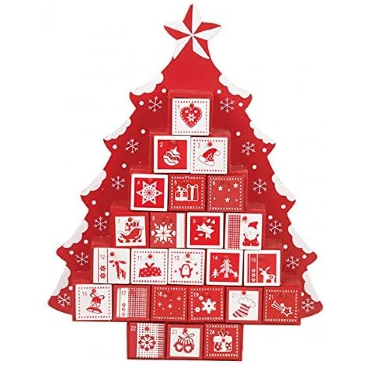 Tree Shape Wooden Advent Calendar Red and White with Drawers