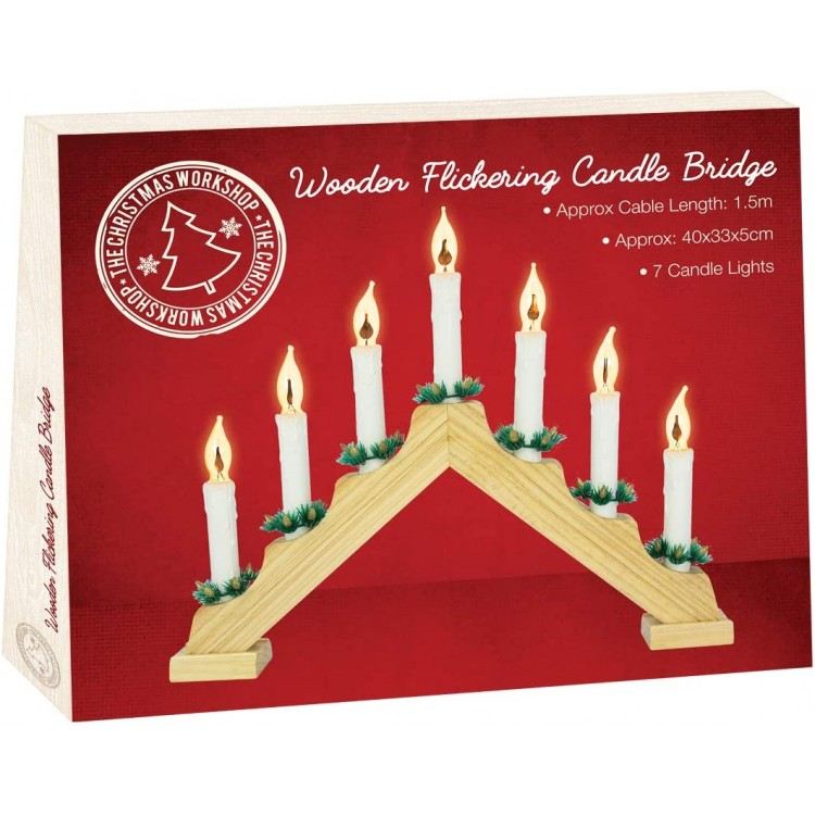 Wooden Flickering Christmas Candle Bridge with Pine Wood Finish