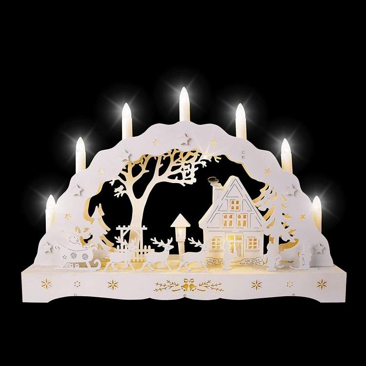 Wooden Warm White LED Christmas Winter Scene Candle Bridge