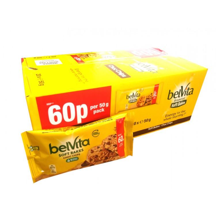 Belvita Soft Bake Choc Chips CASE PRICE x 20 Biscuits