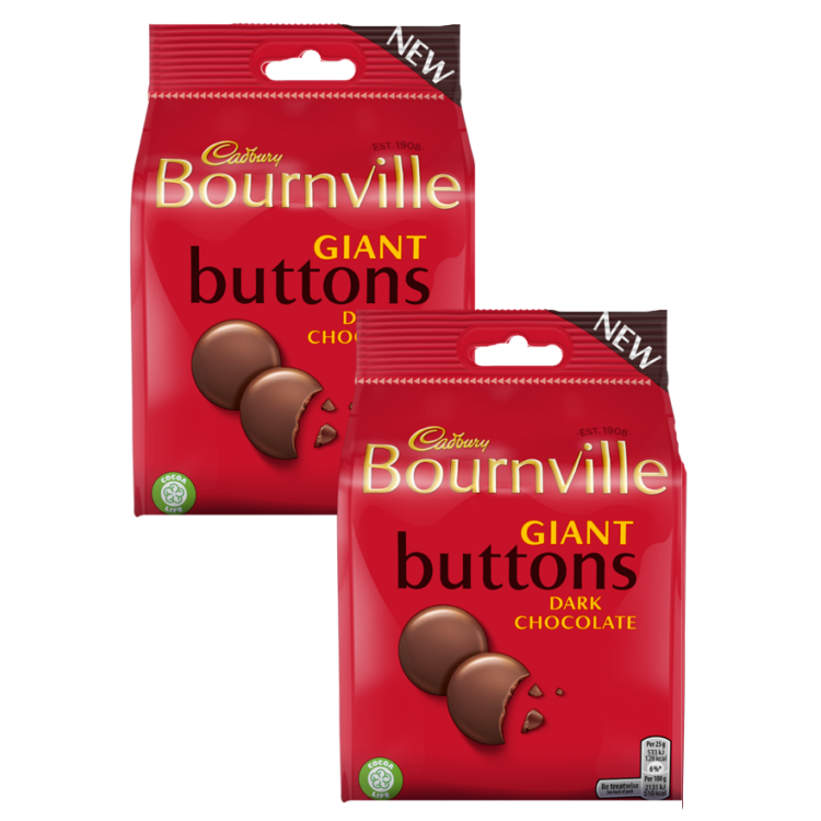 Cadbury Bournville Giant Dark Chocolate Buttons 95g - 2 For £1.50