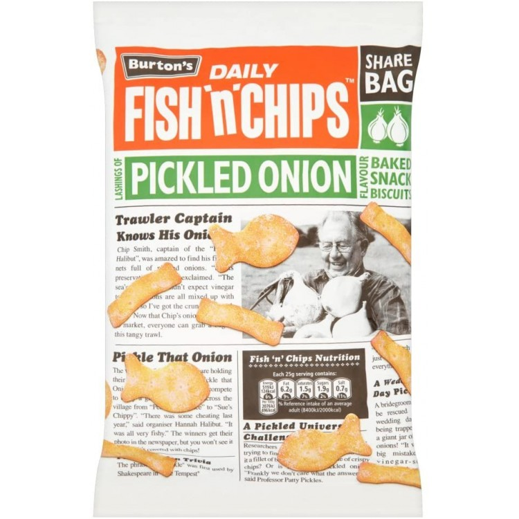 Burtons Fish n Chips Pickled Onion Snacks 125g