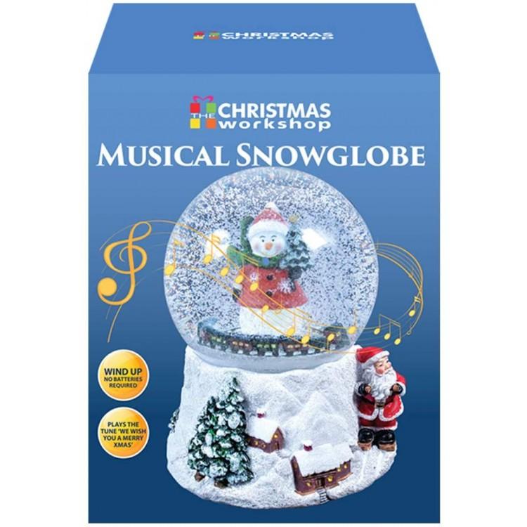 Snowman Musical Wind Up Snow Globe Festive Decoration