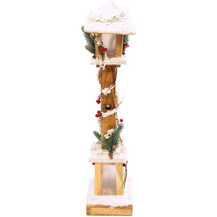 Warm White LED Snow Topped Wooden Lamppost Christmas Decorations