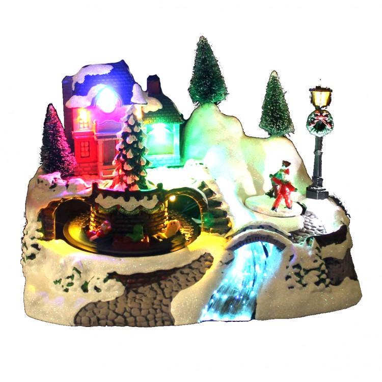 Light Up LED Christmas Animated Train & Ice Skating Ornament