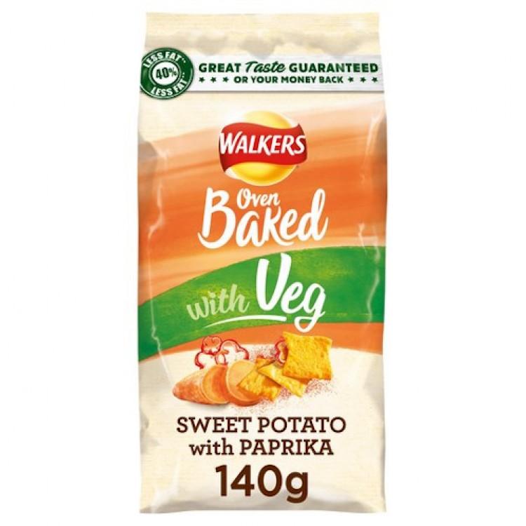 Walkers Oven Baked with Veg Sweet Potato Paprika Crisps 140g