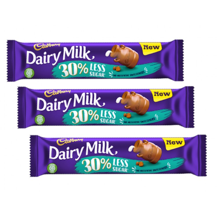 Cadbury Dairy Milk 30% Less Sugar Chocolate Bar 35g - 3 For £1