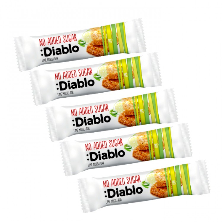Diablo No Added Sugar Lime Muesli Bar 30g - 5 For £1