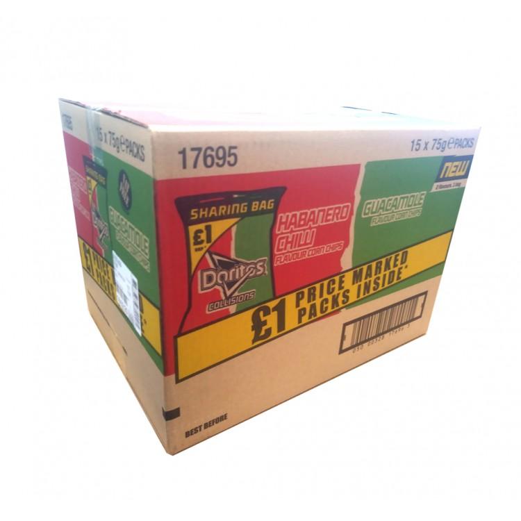 CASE PRICE Doritos Habenero Chilli & Guacamole Crisps 75g x 15