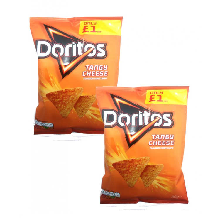 Doritos Tangy Cheese Flavour Corn Chips 80g - 2 For £1