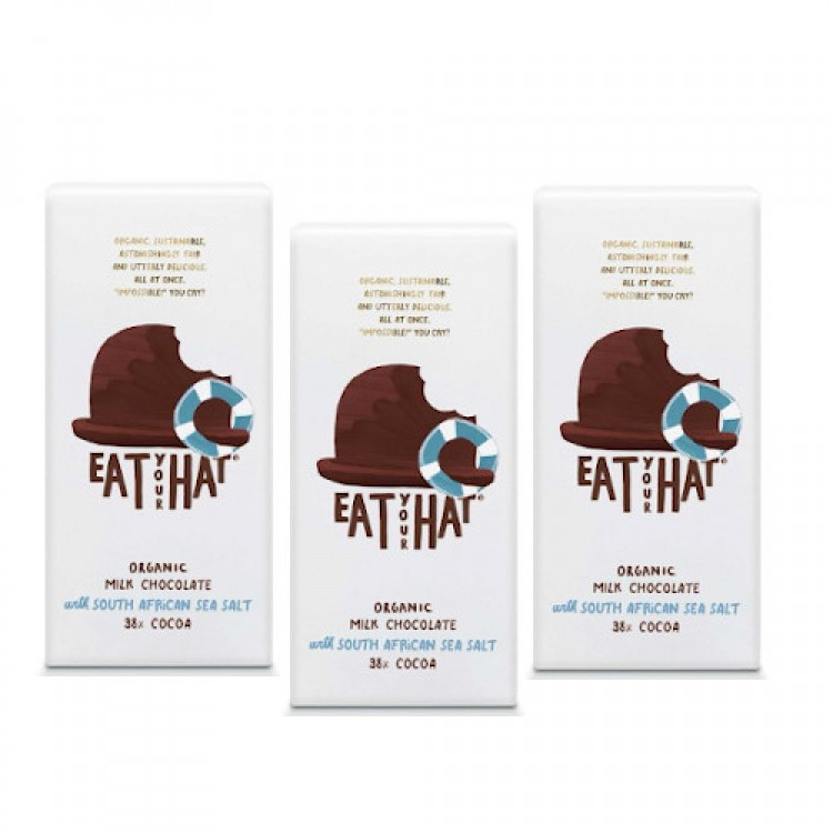Eat Your Hat Organic Milk Chocolate with Sea Salt 91g - 3 For £1