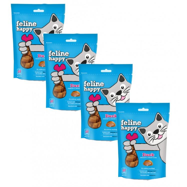 Feline Happy Duck Cat Crunchy & Creamy Bites - 4 For £1