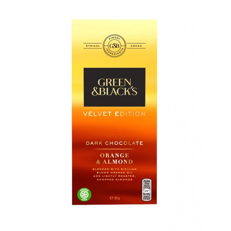Green & Blacks Orange & Almond Dark Chocolate 90g