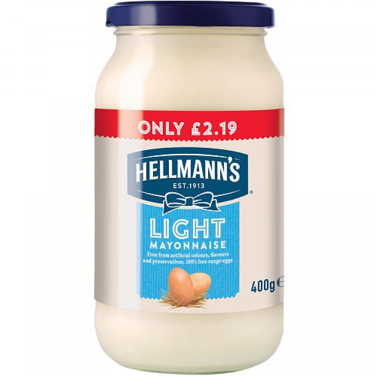 Hellmans Light Mayonnaise 400g Jar