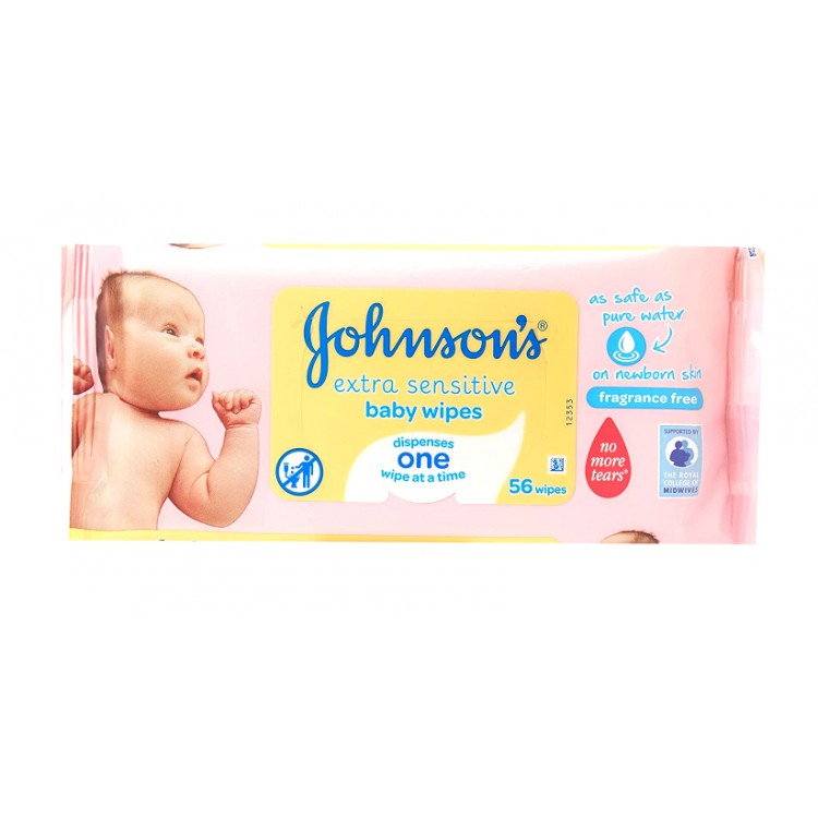 Johnsons Extra Sensitive Baby 56 Wipes