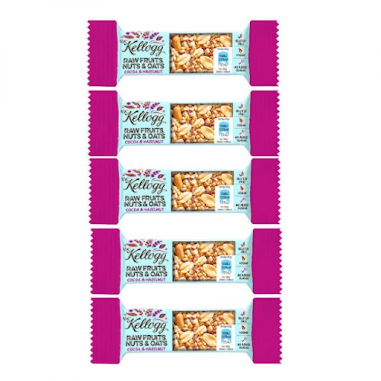 Kelloggs Raw Fruits Nuts & Oats Cocoa & Hazelnut Bars 45g - 5 For £1