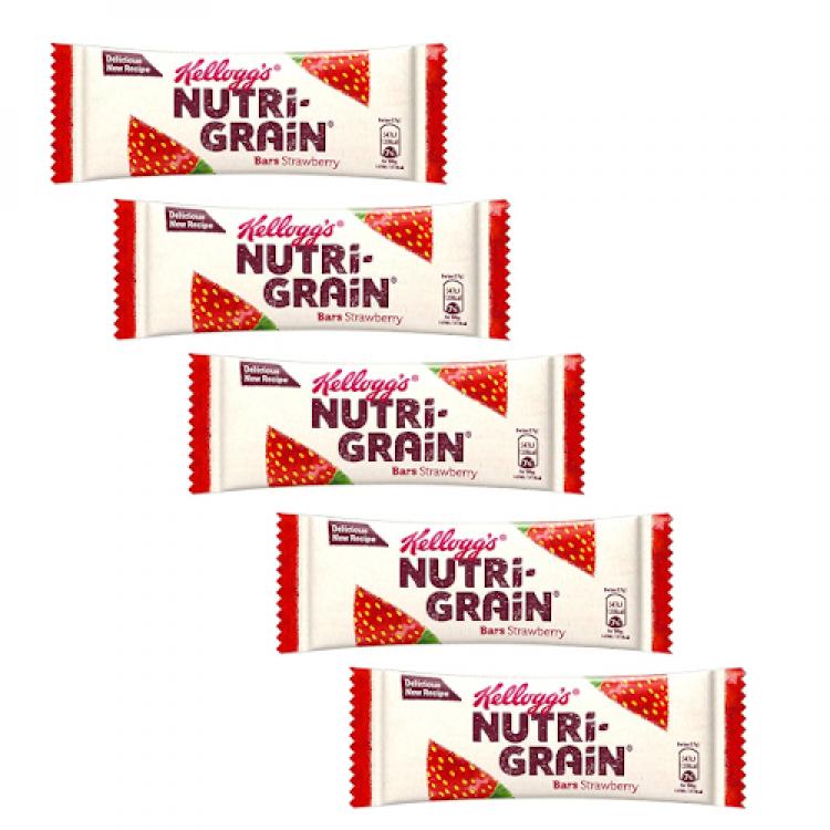 Kellogs Nutri-Grain Strawberry Snack Bar 37g - 5 For £1