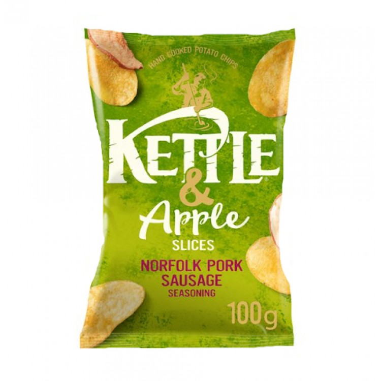 Kettle & Apple Slices Crisps Norfolk Pork Sausage 100g Bag