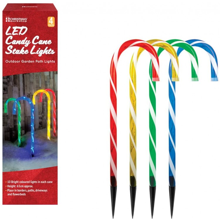 LED Outdoor Christmas Candy Cane Stake Light Decorations Multi Coloured