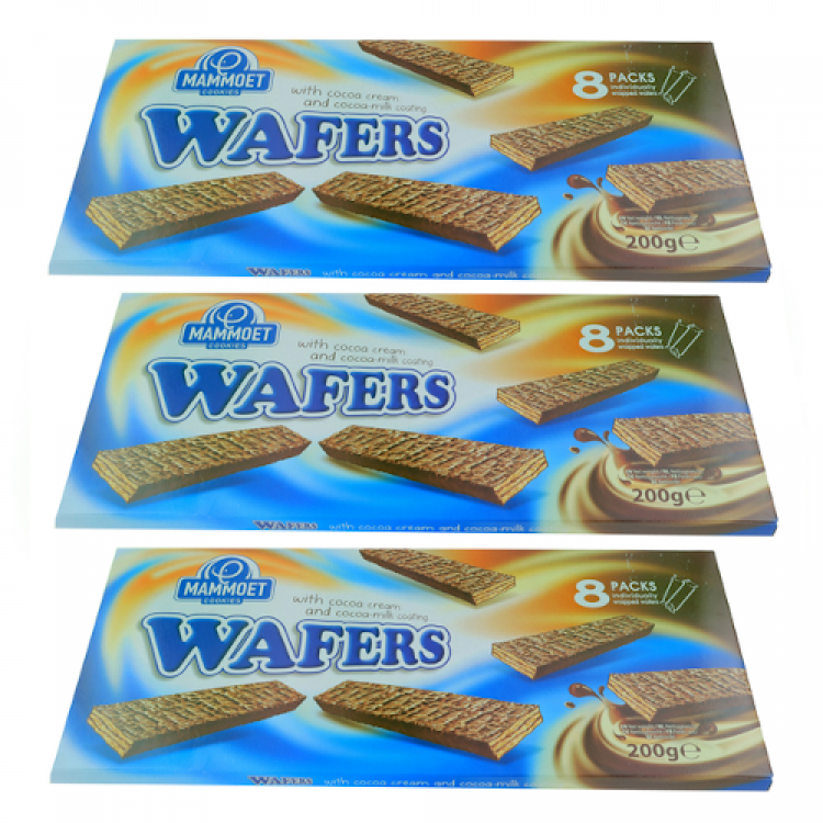 Mammoet Cookies Chocolate Wafers 200g - 3 For £1