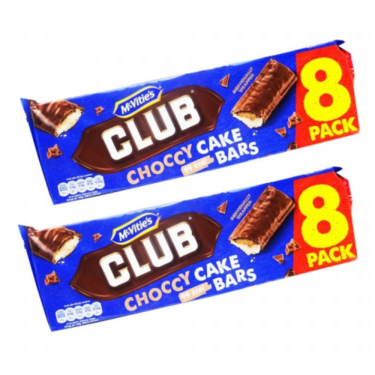 Mcvities Club Choccy Cake Bars 8 Pack 2 For £1.50