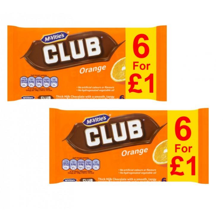 Mcvities Orange Club Bars 6pack - 2 For £1