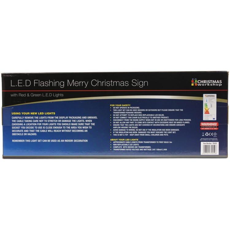 LED Flashing Merry Christmas Sign