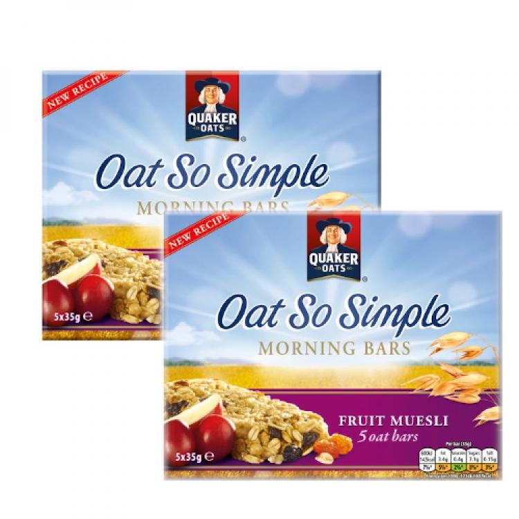 Quaker Oats So Simple Morning Bars Fruit Muesli 175g - 2 For £1