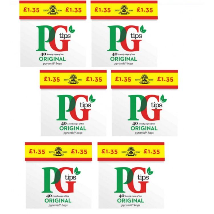 PG Tips Tea Bags Case of 6 x 40