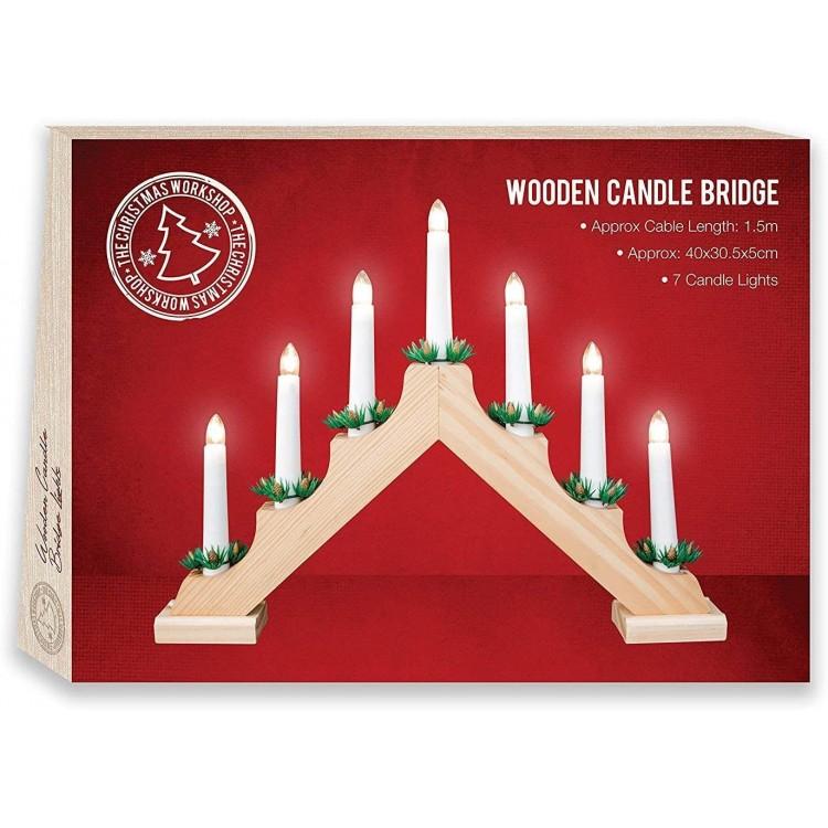 Wooden Christmas Candle Bridge Pine Wood Finish Christmas Light