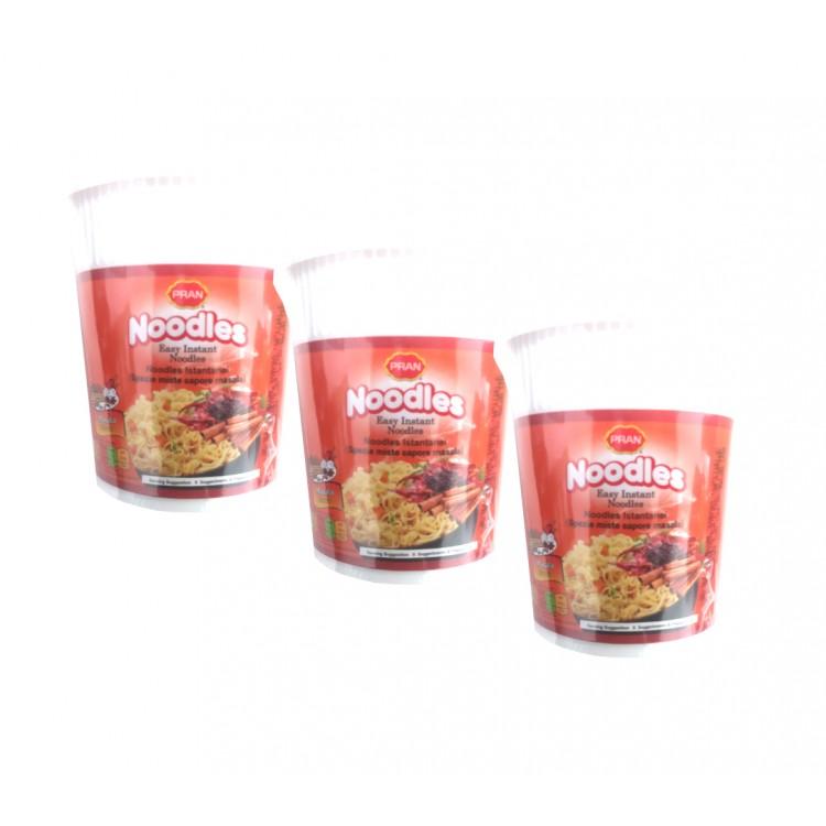 Pran Masala Flavour Easy Instant Noodle Pots 60g - 3 For £1.20