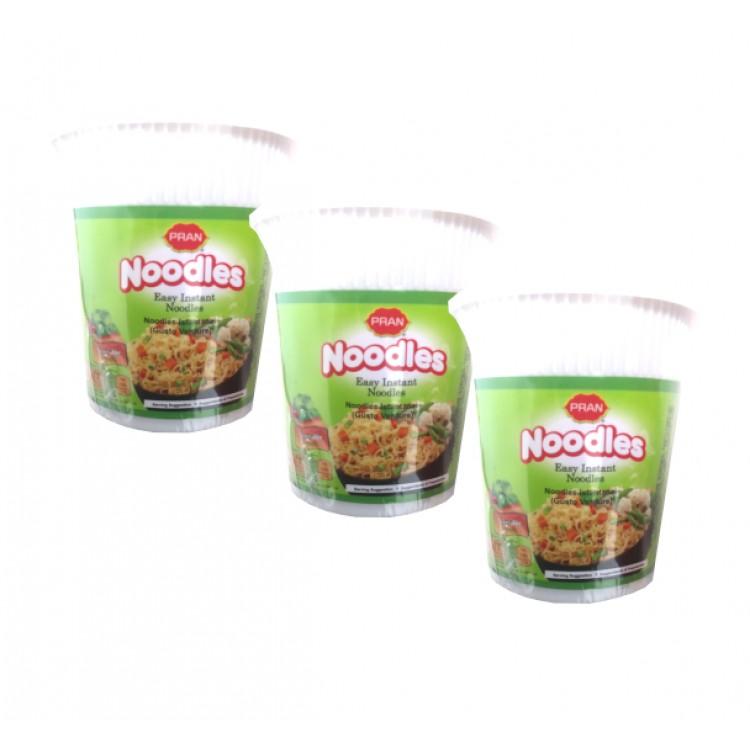 Pran Vegetable Flavour Easy Instant Noodle Pots 60g - 3 For £1.20