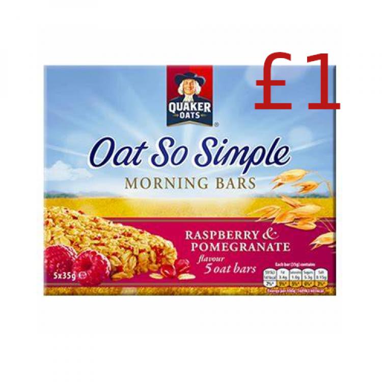 Quaker Oats So Simple Morning Bars Raspberry & Pomegranate 175g