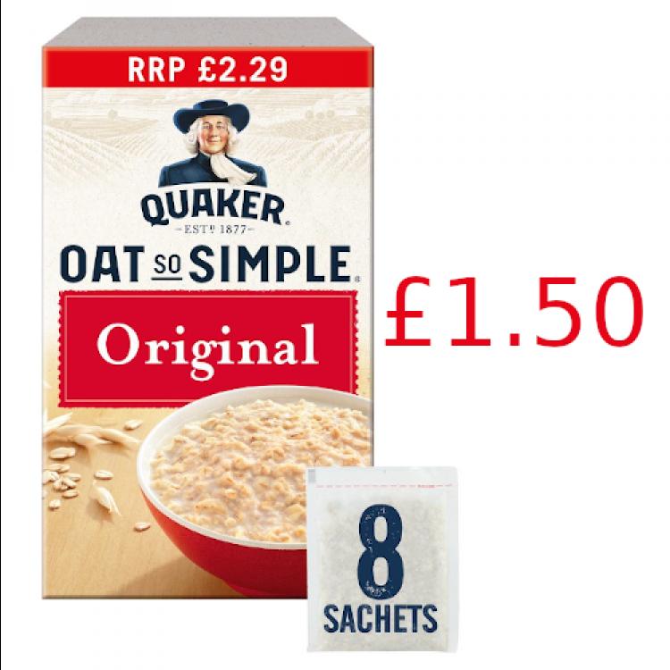 Quaker Oats Original Porridge 216g (8 pack) £1.50