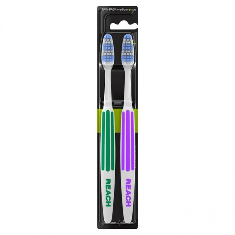 Twin Pack Interdental Reach Toothbrushes Medium Full