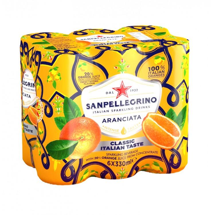 San Pellegrino Aranciata Orange Drink 6pk - 330ml Cans
