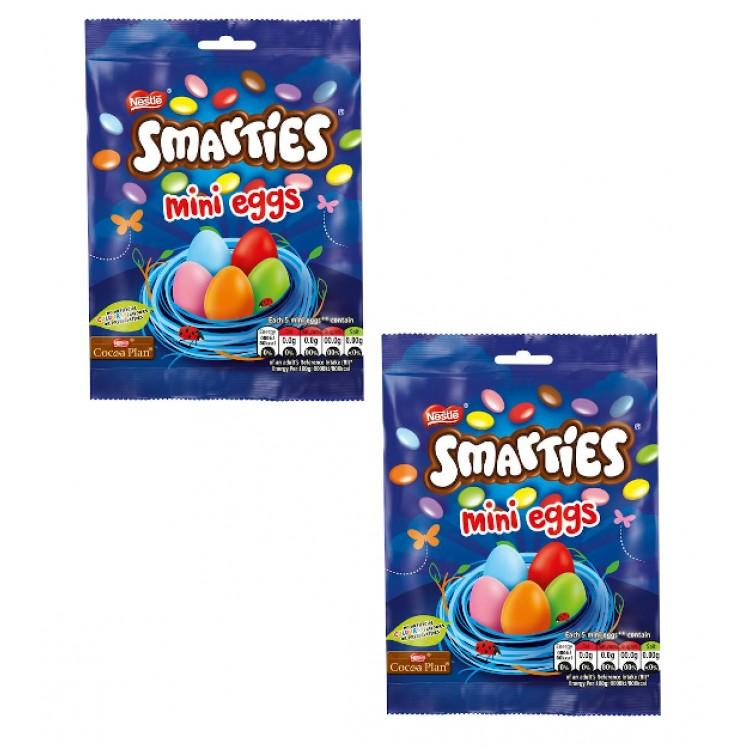 Smarties Mini Eggs 80g - 2 For £1