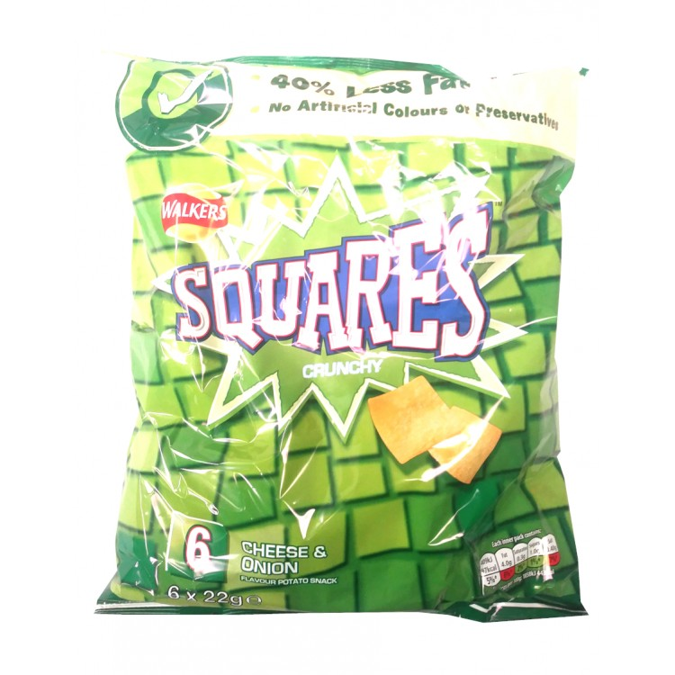Walker Squares Crunchy Cheese & Onion 6pk