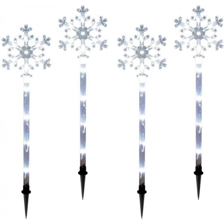 LED Snowflake Garden Path Outdoor Christmas 4pc Stake Lights