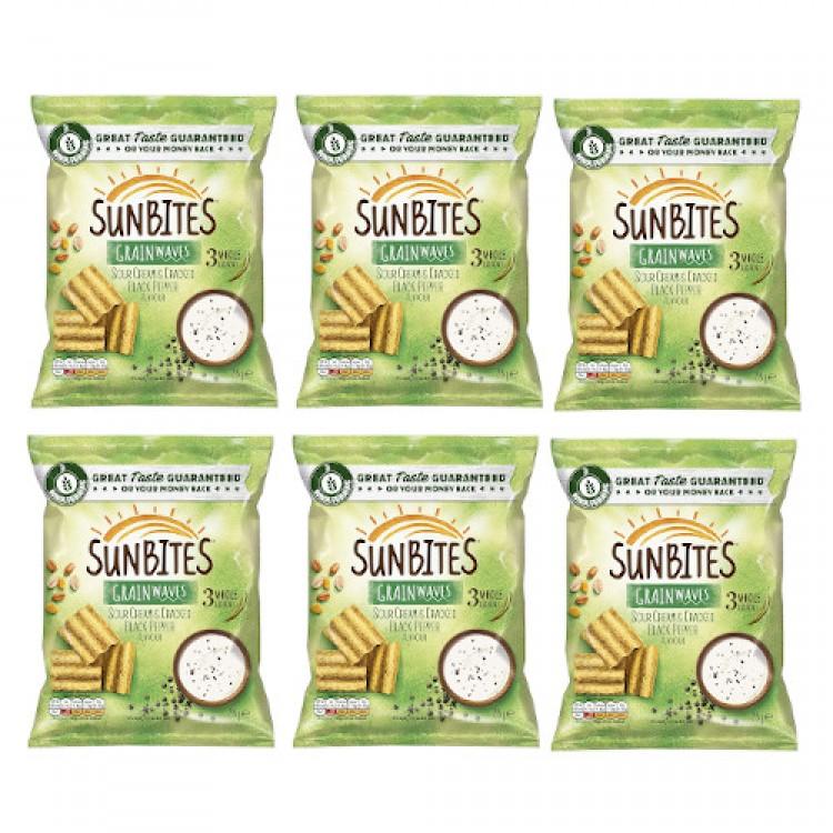 Sunbites Grainwaves Sour Cream & Cracked Black Pepper 28g - 6 For £1