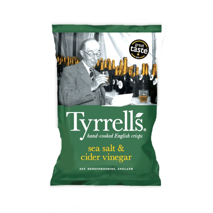 Tyrrells Sea Salt & Cider Vinegar Crisps 40g - 5 For £1