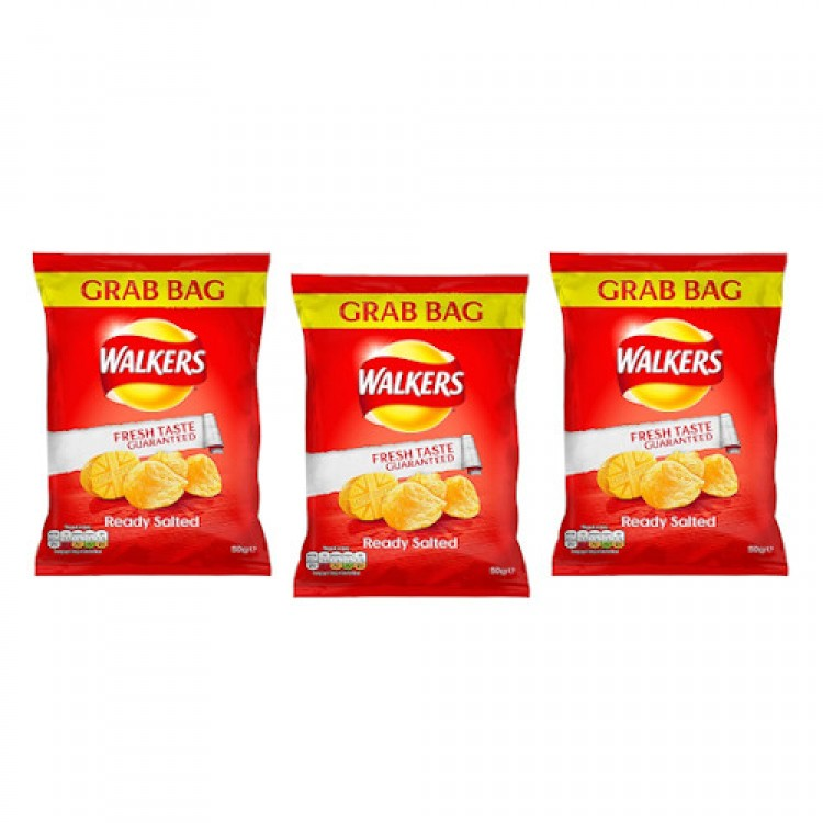 Walkers Ready Salted Crisps Grab Bags 50g - 3 For £1