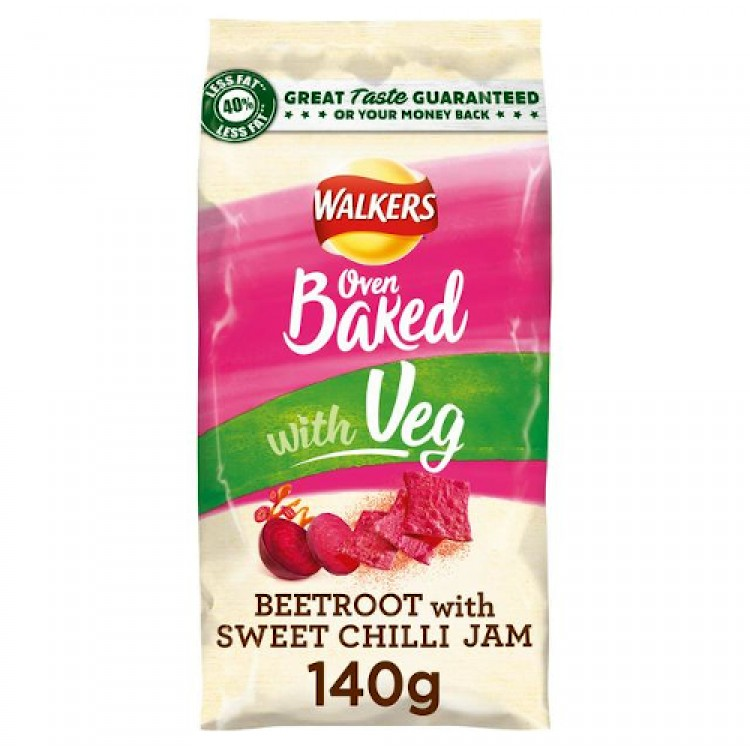 Walkers Oven Baked with Veg Beetroot Sweet Chilli Jam Flavour Crisps 140g